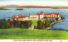 "Postcard, ""Mount Kineo House from Mt. Kineo, Moosehead Lake, Maine."" The sheer size of this hotel, built in 1884 and expanded until 1911 when it could accommodate 500 guests, indicates the popularity of the area and its outdoor recreation activities, such as hunting, fishing, and canoeing. However, in 1938 Mount Kineo House was closed and soon burned to the ground during demolition. University of Maine, Fogler Library Special Collections Postcards of Maine Collection, Box 290"