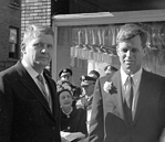 North Carolina Gov. Terry Sanford (left) with Attorney General-designate Robert F. Kennedy, January 6, 1961, during Sanford's inaugural ball. 741.26.a.4
