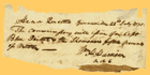 This paper fragment was signed July 22, 1795, by William Henry Harrison from Headquarters in Greenville, Ohio, as aide-de-camp to General Anthony Wayne, authorizing 15 lbs. of mutton to be issued to Blue Jacket and the Shawnees. Om3701_6643424_001.tif