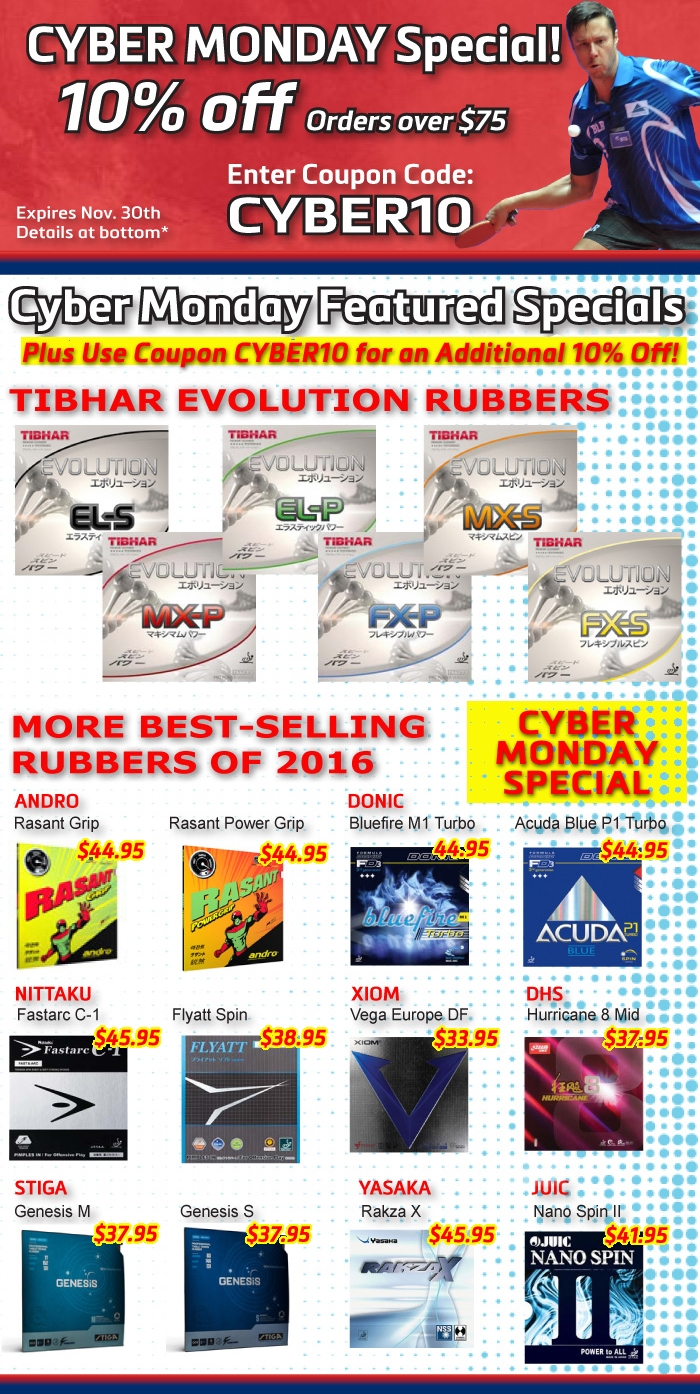 Coupon CYBER10 and Cyber Monday Specials!